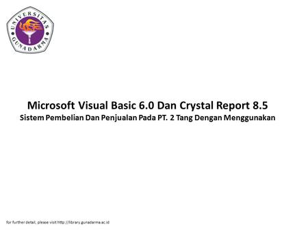 Microsoft Visual Basic 6. 0 Dan Crystal Report 8
