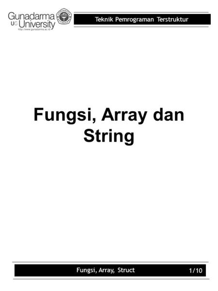 Fungsi, Array dan String