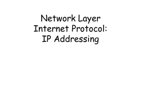 Network Layer Internet Protocol: IP Addressing. IP Protocols dan Pendukungnya Application.
