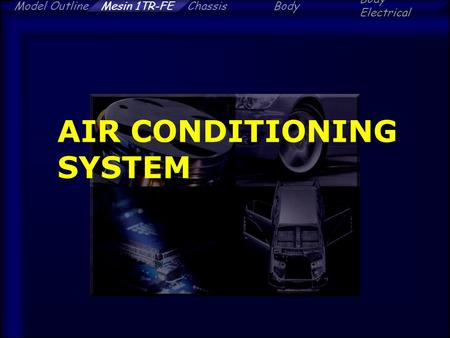 Model OutlineChassisBody Electrical Mesin 1TR-FE AIR CONDITIONING SYSTEM.