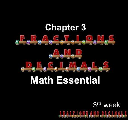 Chapter 3 Math Essential 3rd week.