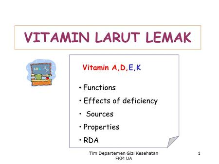 Tim Departemen Gizi Kesehatan FKM UA 1 VITAMIN LARUT LEMAK Vitamin A,D,E,K Functions Effects of deficiency Sources Properties RDA.