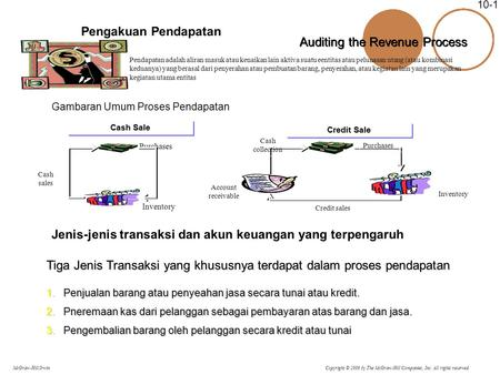 Copyright © 2006 by The McGraw-Hill Companies, Inc. All rights reserved. McGraw-Hill/Irwin 10-1 Pengakuan Pendapatan Pendapatan adalah aliran masuk atau.