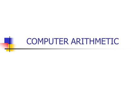 COMPUTER ARITHMETIC. ARITHMATIC LOGIC UNIT 1. FIXED POINT ARITHMATIC YANG MENCAKUP : Adder (Penambahan) terdiri dari HALF adder dan FULL adder Subtracter.