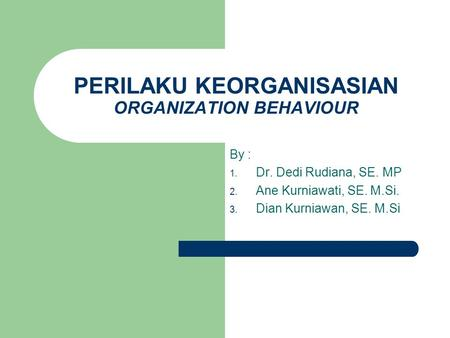 PERILAKU KEORGANISASIAN ORGANIZATION BEHAVIOUR