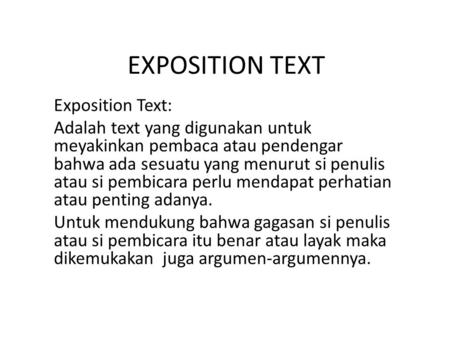 EXPOSITION TEXT Exposition Text: