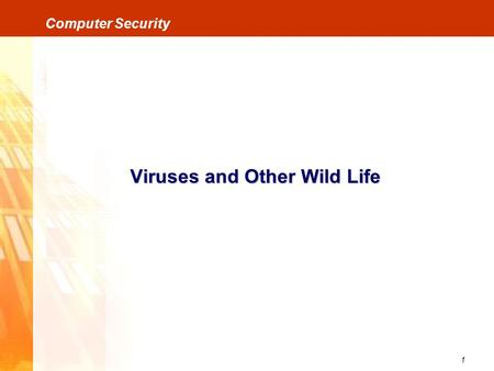 1 Computer Security Viruses and Other Wild Life. 2 Computer Security Viruses and Other Wild Life VirusesWorms Trojan Horses Bombs Trap Doors / Back Doors.