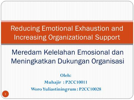 Oleh: Muhajir : P2CC10011 Woro Yuliastiningrum : P2CC10028 Reducing Emotional Exhaustion and Increasing Organizational Support Meredam Kelelahan Emosional.