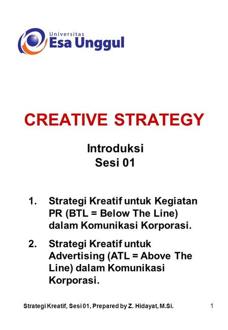 CREATIVE STRATEGY Introduksi Sesi 01