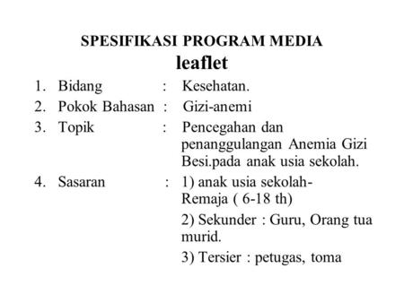 SPESIFIKASI PROGRAM MEDIA leaflet