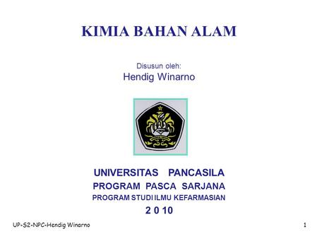 UNIVERSITAS PANCASILA PROGRAM STUDI ILMU KEFARMASIAN
