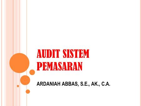 AUDIT SISTEM PEMASARAN