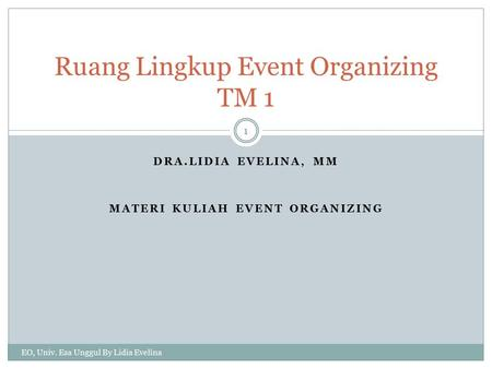 Ruang Lingkup Event Organizing TM 1