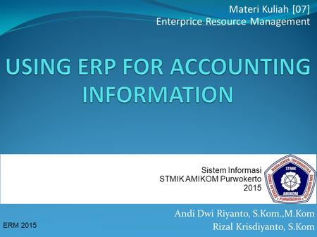 USING ERP FOR ACCOUNTING INFORMATION