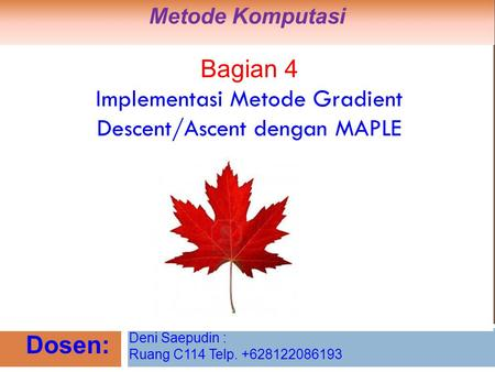 Implementasi Metode Gradient Descent/Ascent dengan MAPLE