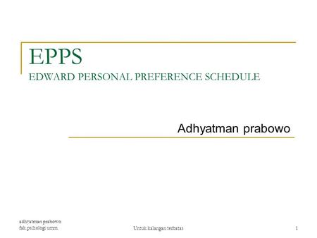 EPPS EDWARD PERSONAL PREFERENCE SCHEDULE