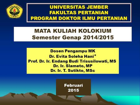 PROGRAM DOKTOR ILMU PERTANIAN