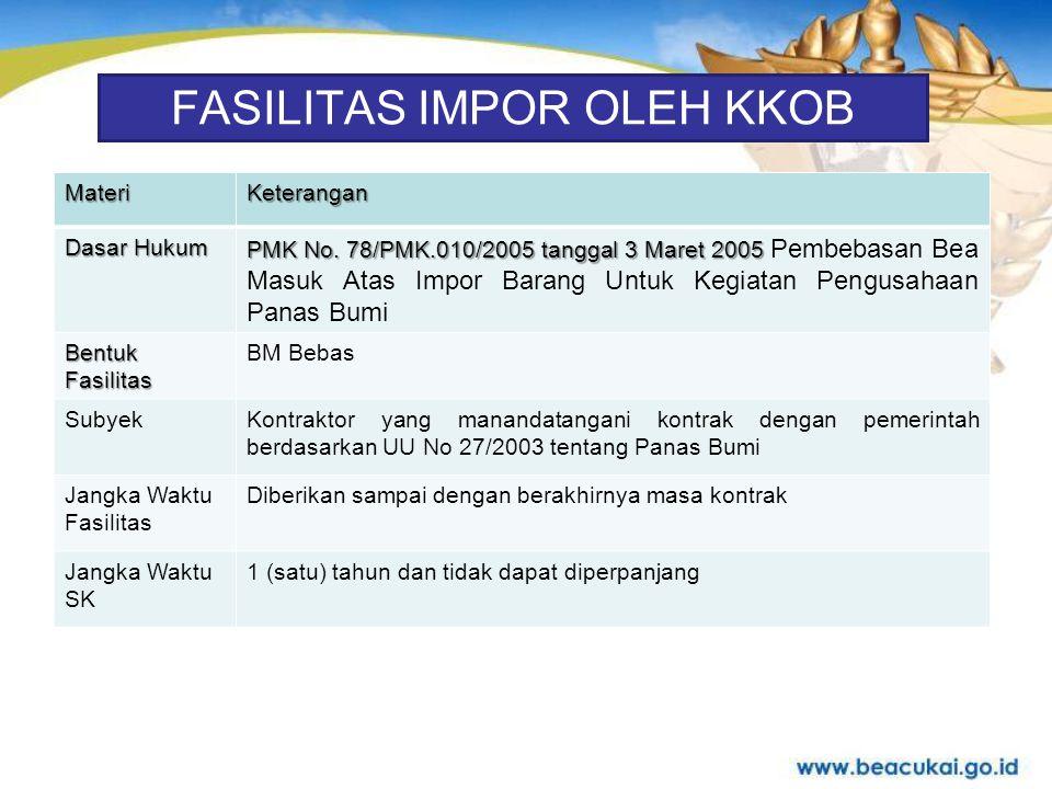 FASILITAS IMPOR OLEH KKOB MateriKeterangan Dasar Hukum Fasilitas BM PMK No.