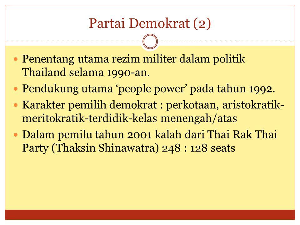  Dalam pemilu tahun 2005 kalah lagi dari Partai Thaksin (Thai Rak Thai)  Mengetengahkan isu populis pada tahun 2005 : perluasan kesempatan kerja, pendidikan universal, pelayanan kesehatan universal, penegakan hukum terhadap KKN dan kejahatan  Pada 6 Maret 2005 Abhisit Vejjajiva menjadi pemimpin Partai