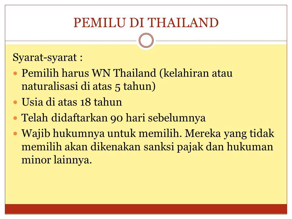 PEMILU DI THAILAND (2)  House of Representatives punya 480 kursi  400 dipilih langsung  80 dipilih dengan 'proportional representation'  Pertama memilih calonnya; kedua memilih partai-nya (mixed member majoritarian system)  80 yang dipilih adalah calon-calon pada daftar calon urutan Partai  Electoral areas (DAPIL) adalah 8 area dari 76 propinsi di Thailand  Pada 11 Feb 2011 anggota House berubah menjadi 5000 (375 dipilih langsung dan 125 dari daftar urut Partai)