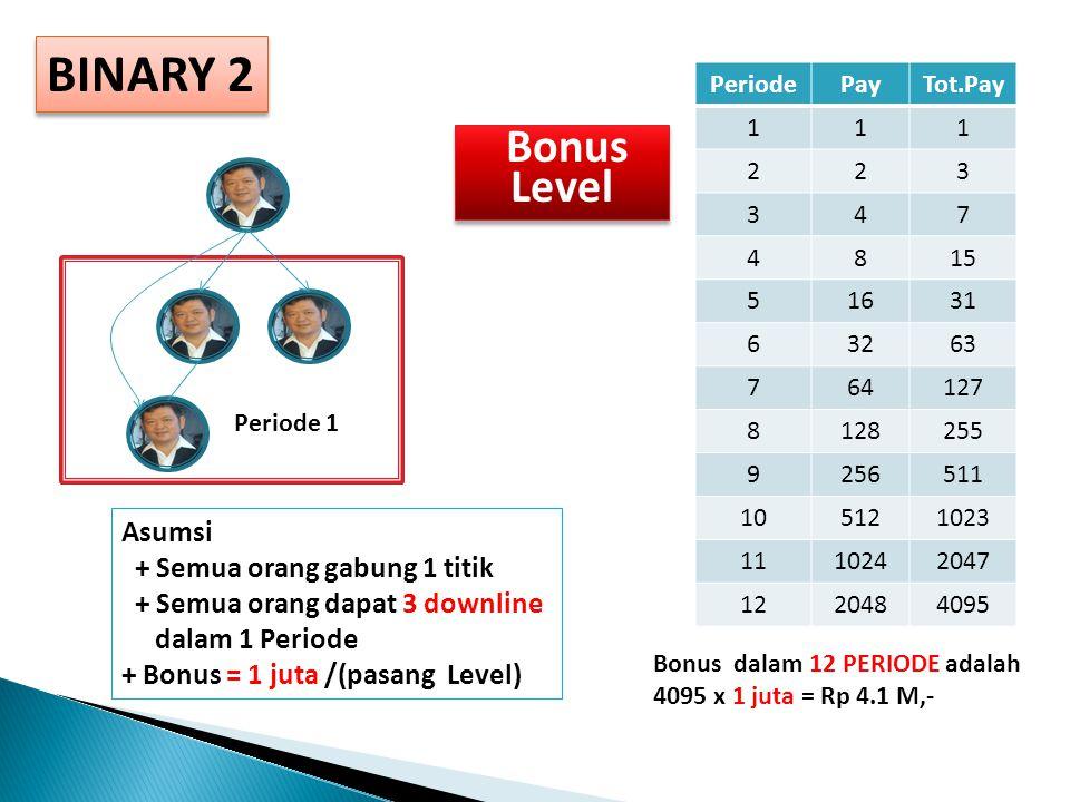 BINARY 2 PeriodePayTot.Pay 111 223 347 4815 51631 63263 764127 8128255 9256511 105121023 1110242047 1220484095 Periode 1 Asumsi + Semua orang gabung 1 titik + Semua orang dapat 3 downline dalam 1 Periode + Bonus = 1 juta /(pasang Level) Bonus dalam 12 PERIODE adalah 4095 x 1 juta = Rp 4.1 M,- Bonus Level Bonus Level