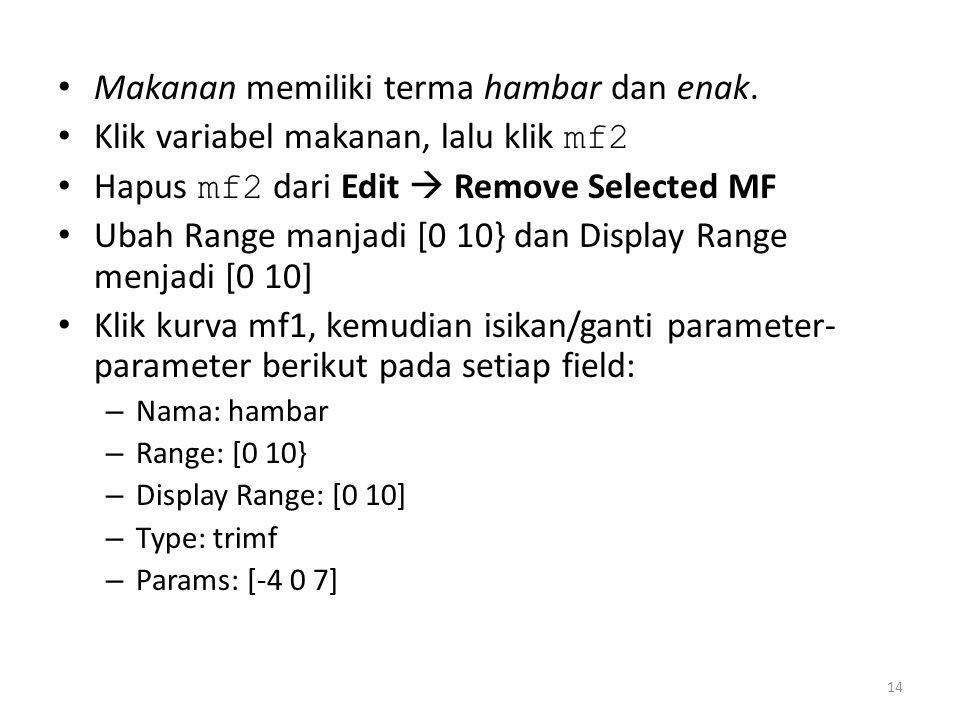 • Klik kurva mf1, kemudian isikan/ganti parameter- parameter berikut pada setiap field: – Nama: enak – Range: [0 10] – Display Range: [0 10] – Type: trimf – Params: [3 10 14] 15