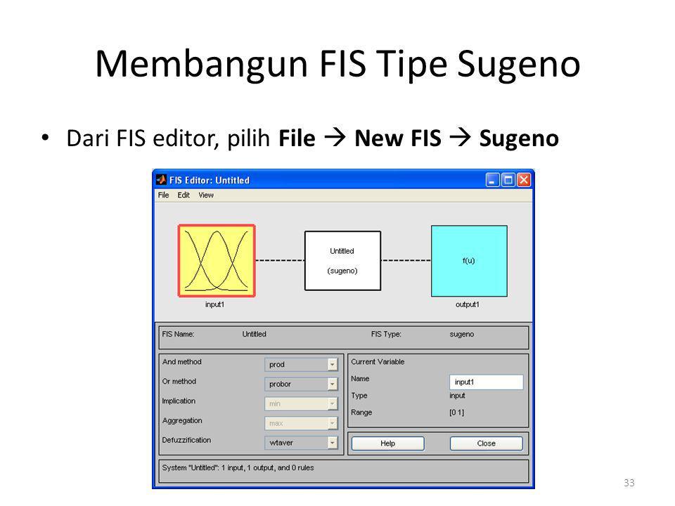 Konversi FIS Mamdani  FIS Sugeno >> fisbonus =readfis( fisbonus ); >> sgnfisbonus=mam2sug(fisbonus) Respon MATLAB: name: fisbonus type: sugeno andMethod: min orMethod: max defuzzMethod: wtaver impMethod: min aggMethod: max input: [1x2 struct] output: [1x1 struct] rule: [1x3 struct] 34