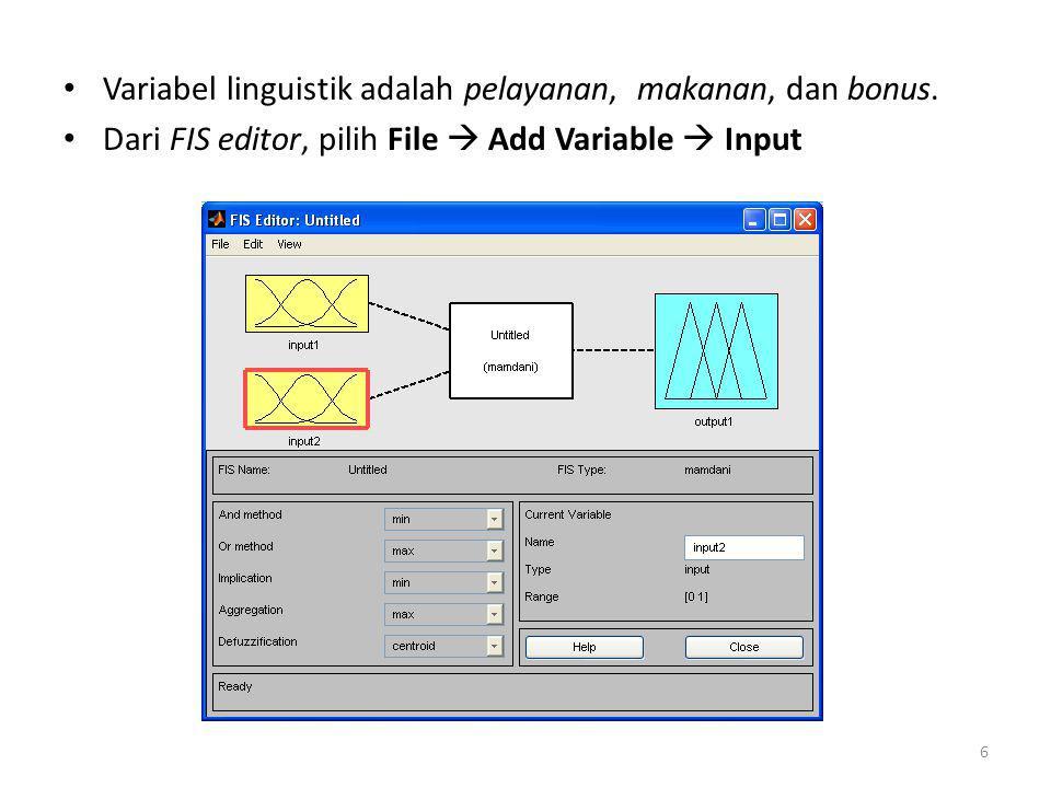 • Klik gambar Input1, ganti namanya menjadi pelayanan pada kotak Current Variable, lalu tekan Enter.