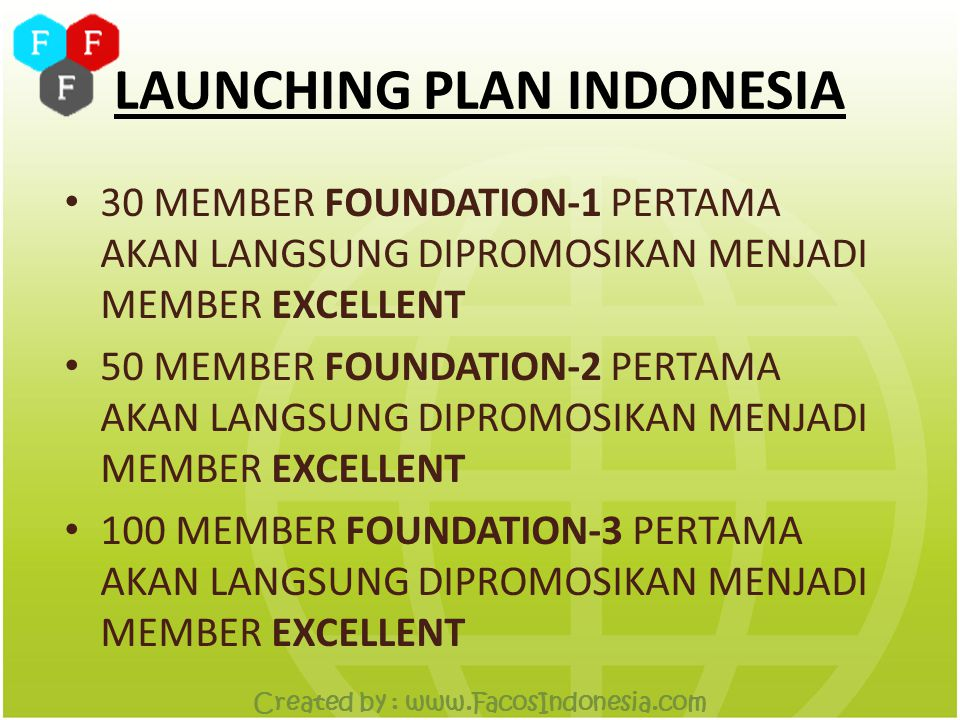 LAUNCHING PLAN INDONESIA Created by : www.FacosIndonesia.com FOUNDATION-2