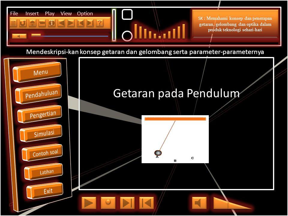 Click to edit Master title style File Insert Play View Option Getaran pada Pendulum Mendeskripsi-kan konsep getaran dan gelombang serta parameter-parameternya SK : Memahami konsep dan penerapan getaran, gelombang dan optika dalam produk teknologi sehari-hari