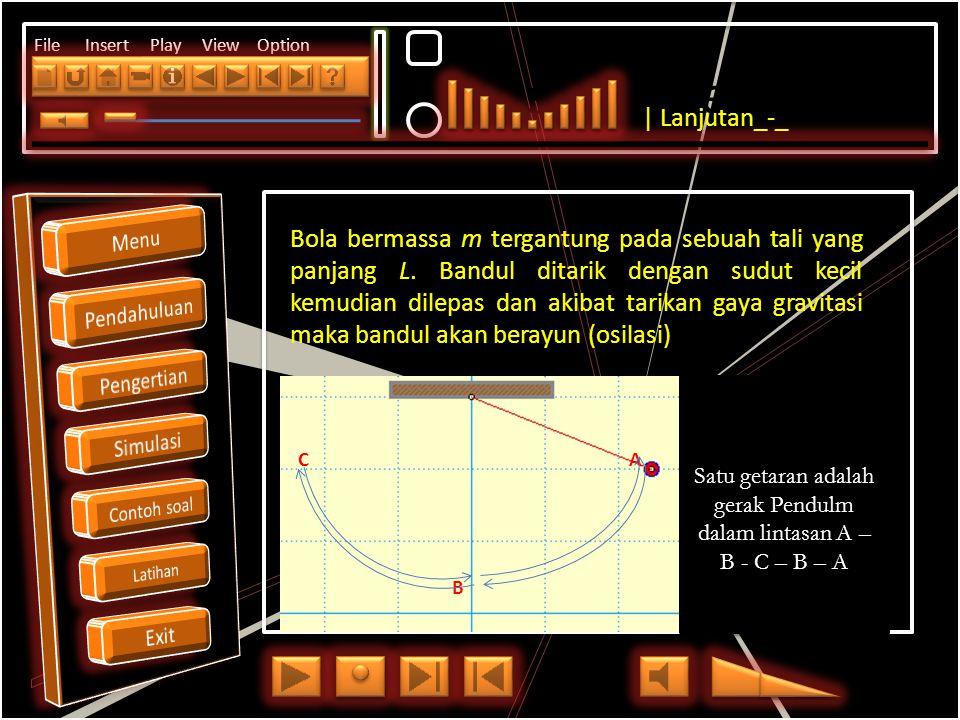 Click to edit Master title style File Insert Play View Option Satu getaran adalah gerak Pendulm dalam lintasan A – B - C – B – A C A B Bola bermassa m tergantung pada sebuah tali yang panjang L.