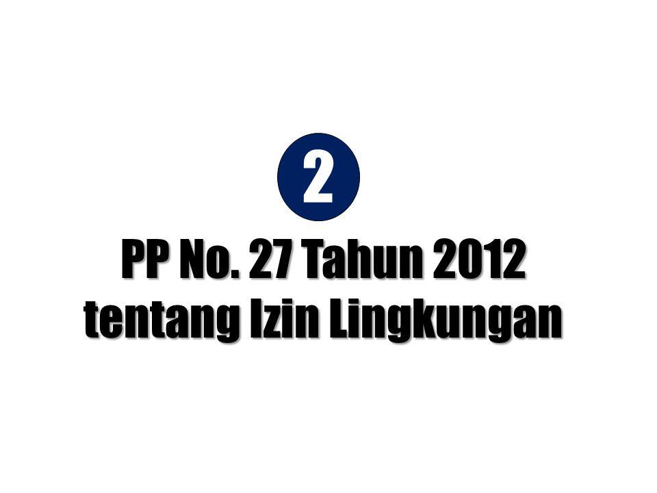 •Recall RPP Izin Lingkungan setelah diparaf oleh 3 Menteri; •Print-out di kertas Presiden; dan •Penyiapan surat pengajuan RPP Izin Lingkungan oleh Mensesneg kepada Presiden 1 3 4 5 26 Des 2011 27 Des 2011 27 Des 2011s/d 12 Jan2012 13 Jan 2012 23 Februari 2012 Pembahasan Terakhir RPP Izin Lingkungan, KLH dengan Setneg; •Recall RPP Izin Lingkungan; •Print-out RPP Izin Lingkungan di Kertas Presiden; dan •Surat Mensesneg tentang permohonan paraf pada RPP Izin Lingkungan kepada MENLH, Menteri PU dan Menteri Perindustrian Proses paraf pada RPP Izin Lingkungan oleh 3 Menteri: MENLH, Menteri PU, Menteri Perindustrian PP Izin Lingkungan Hidup diterbitkan: PP No.