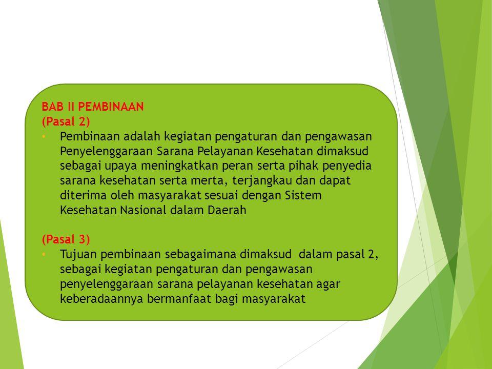 BAB III PERIJINAN (Pasal 4) • Setiap orang atau badan yang menyelenggarakan Sarana Pelayanan Kesehatan dalam Daerah, harus mendapat Ijin dari Walikota setelah mendapat rekomendasi dari Dinas Kesehatan.