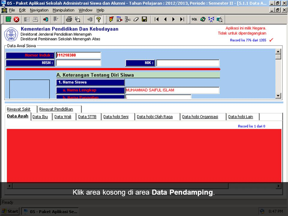 Klik area kosong di area Data Pendamping.