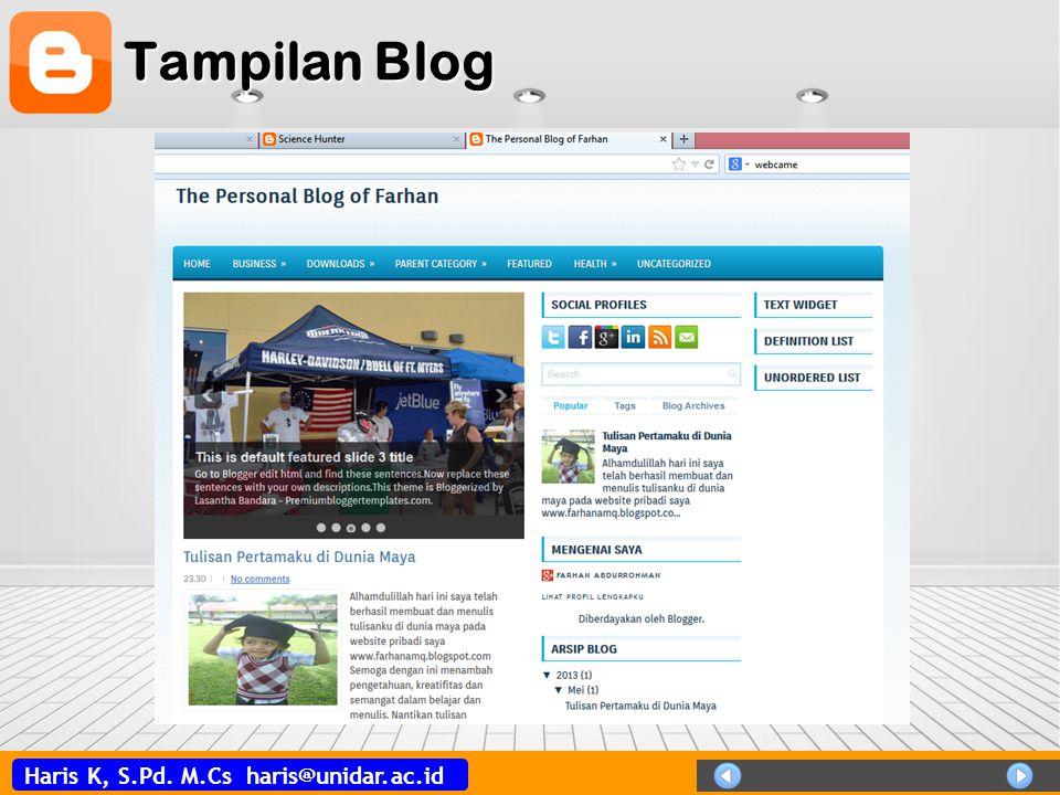 Haris K, S.Pd. M.Cs haris@unidar.ac.id Menu Blogger