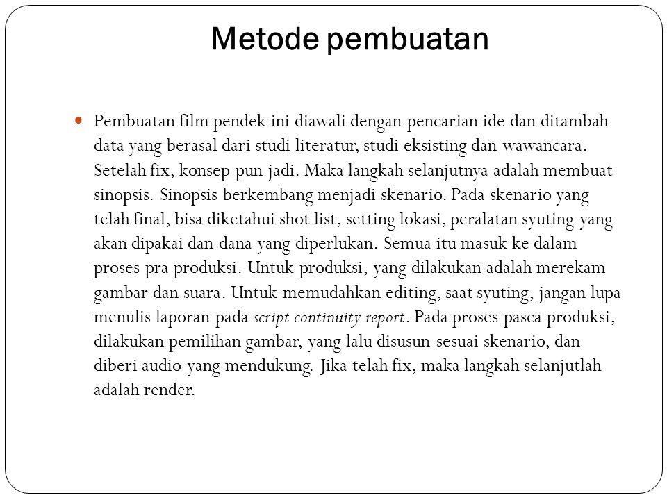 Konsep dan Ide Cerita  Ide pembuatan film ini berawal dari keprihatinan terhadap perkembangan seni teater rakyat ludruk di Jawa Timur khusunya Surabaya.