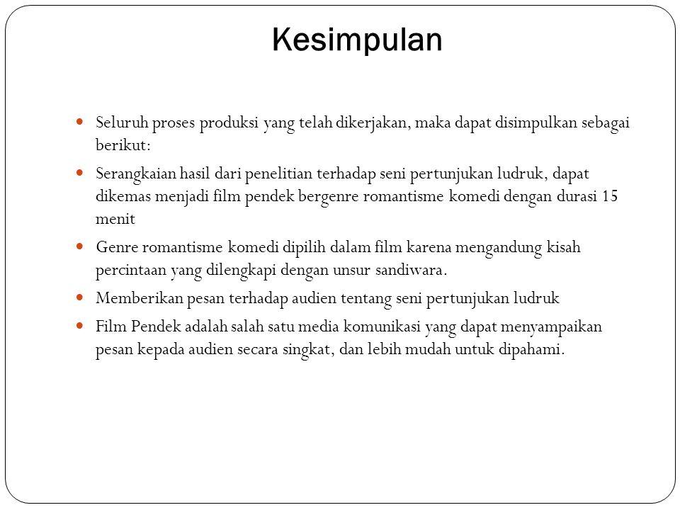 Saran  Berdasarkan seluruh hasil produksi yang telah dilaksanakan, terdapat beberapa saran untuk penelitian ini, yaitu:  Memberikan perhatian terhadap seni pertunjukan tradisional yang ada di Indonesia  Lebih mengeksplorasi tema seni pertunjukan tradisional dalam konsep membuat film, sehingga perfilman Indonesia tidak hanya berkutat kepada tema cinta dan horror yang selama ini beredar.