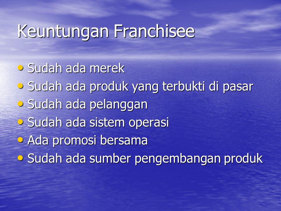 Keuntungan Franchisee • Sudah ada merek • Sudah ada produk yang terbukti di pasar • Sudah ada pelanggan • Sudah ada sistem operasi • Ada promosi bersama • Sudah ada sumber pengembangan produk