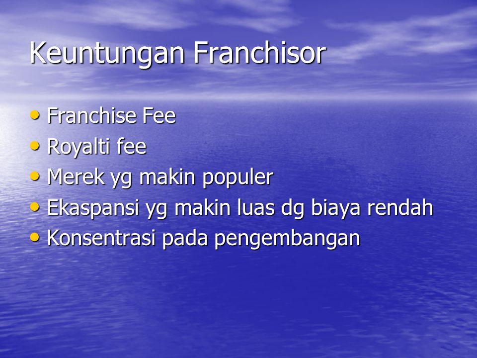Keuntungan Franchisor • Franchise Fee • Royalti fee • Merek yg makin populer • Ekaspansi yg makin luas dg biaya rendah • Konsentrasi pada pengembangan