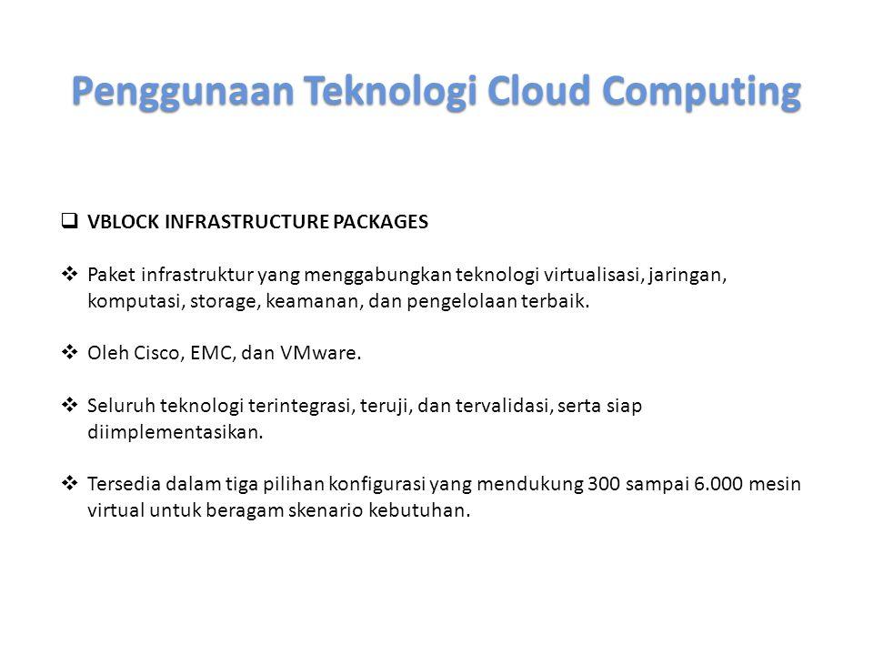 Penggunaan Teknologi Cloud Computing  IBM VMCONTROL  Produk yang dikombinasikan dengan perangkat lunak IBM Tivoli.