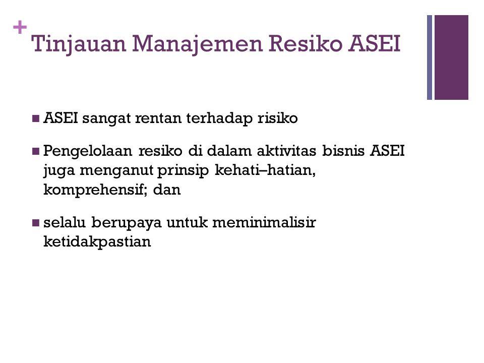 + Perencanaan MANRISK  Diawali dengan Komitmen Top Management ASEI  Top level management ASEI telah menerapkan good corporate governance sebagai pondasi