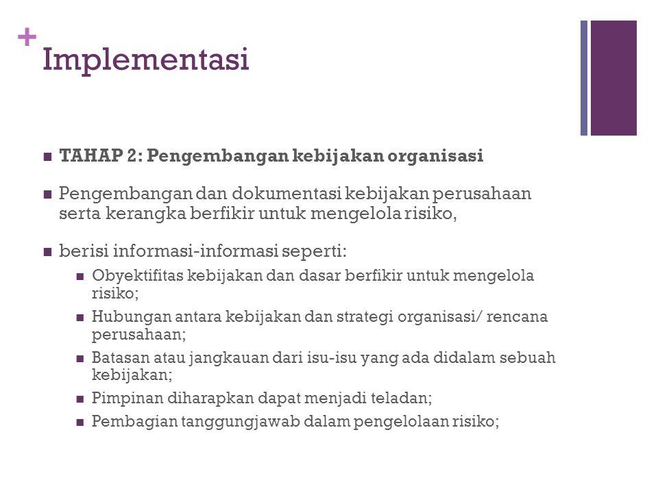 + Implementasi  TAHAP 3: Komunikasi Peraturan  Meningkatkan kesadaran akan manajemen risiko.