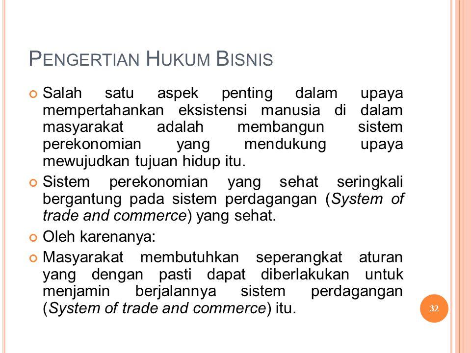 P ENGERTIAN H UKUM B ISNIS  Perangkat aturan-aturan perilaku yang dianggap paling dapat menjamin sistem perdagangan itu adalah aturan-aturan hukum yang secara sederhana dapat dipahami sebagai: HUKUM BISNIS (BUSINESS LAW) 33