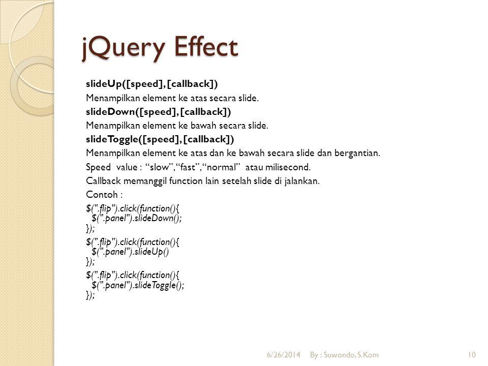 jQuery Effect fadeIn([speed], [callback]) Merubah kecerahan sebuah element dengan efek fade masuk.
