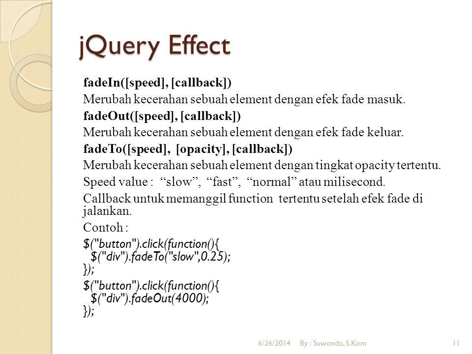 jQuery Effect animate({params}, [duration], [easing], [callback]) Digunakan untuk membuat animasi yang dapat ditentukan sendiri.