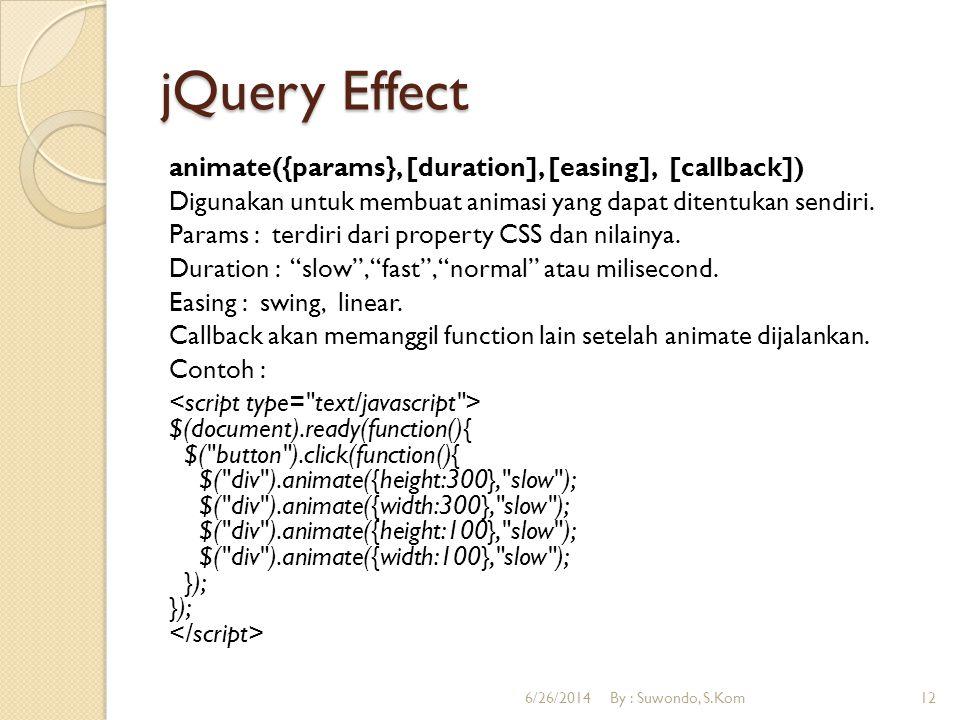 jQuery Callback Callback digunakan untuk memanggil function lain setelah effect di jalankan.