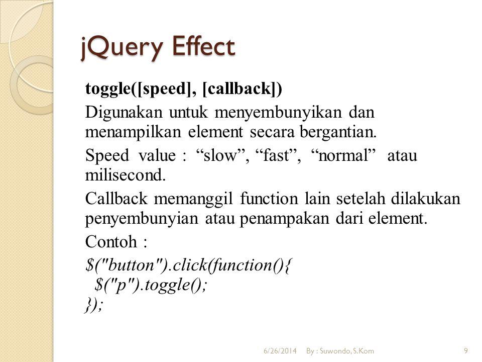 jQuery Effect slideUp([speed], [callback]) Menampilkan element ke atas secara slide.