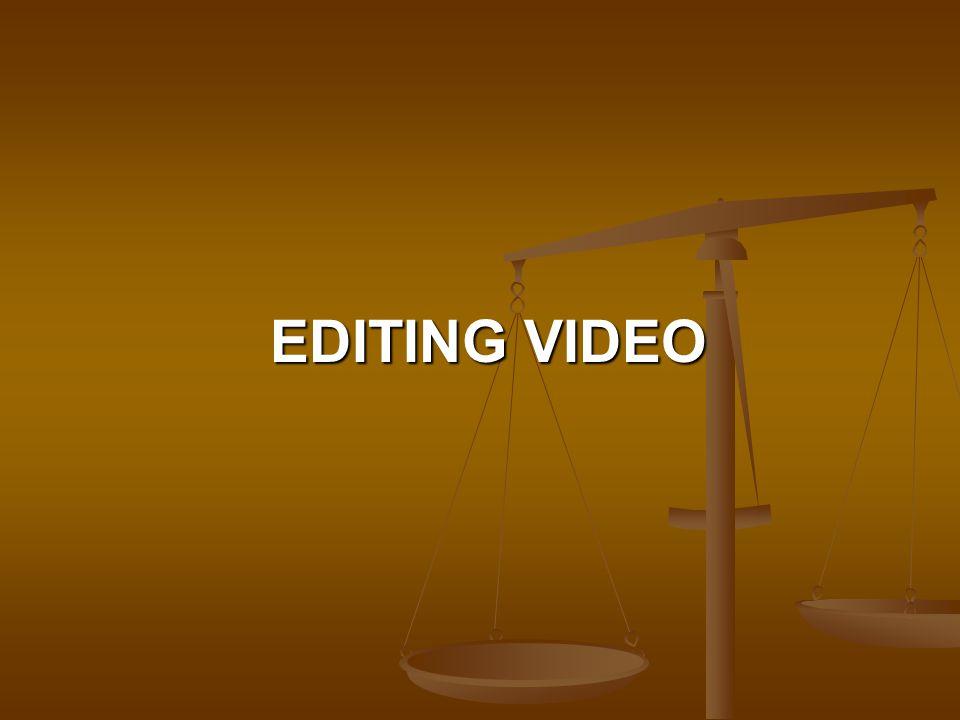 Video editing adalah gabungan antara seni dan teknik dari bahan dasar berupa potongan gambar dan suara atau populer dengan nama clip, yang dipadukan dan diolah sehingga mempunyai arti dan makna yang jelas.