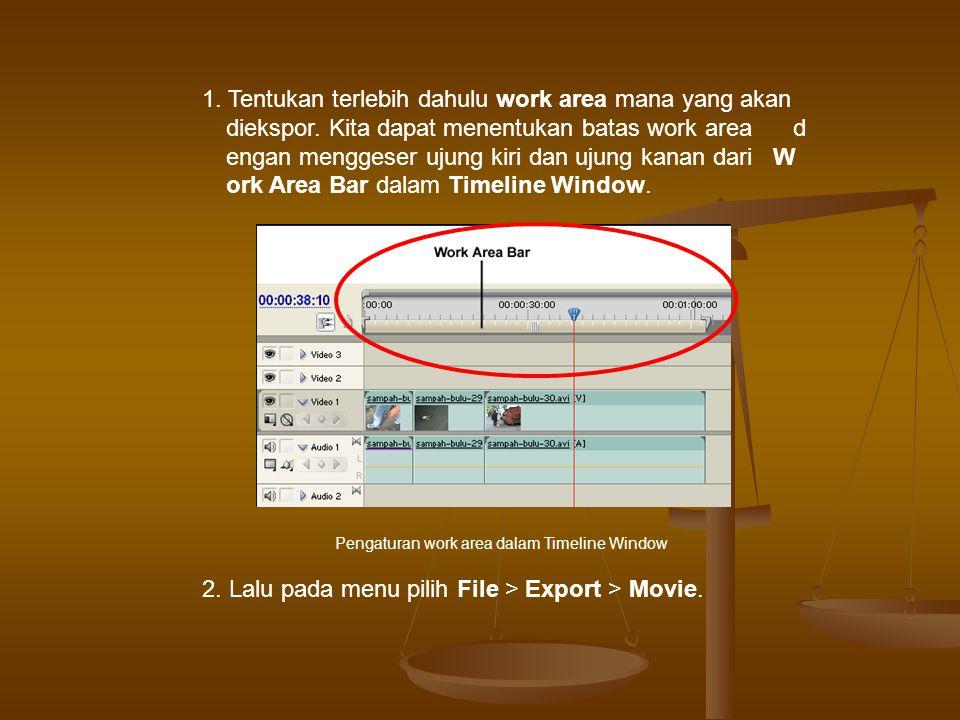 3. Maka akan tampil kotak dialog Export Movie. Kotak dialog Export Movie