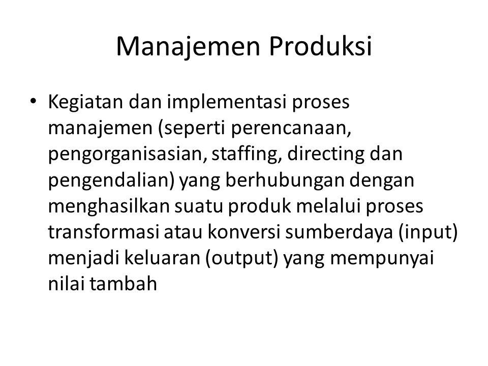 Pengelolaan Produksi • Sebagai suatu sistem konversi atau transformasi terbagi dua : – Rangcang bangun (design) sistem produksi – Pengoperasioan (operasi) dan Pengendalian sistem produksi yang ada